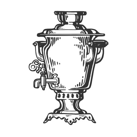 Samovar russian water tea boiler engraving vector illustration. Scratch board style imitation. Hand drawn image. Standard-Bild