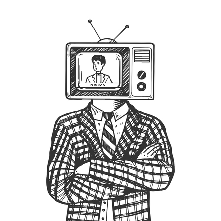 TV head of man engraving vector illustration. Scratch board style imitation. Black and white hand drawn image. Illustration