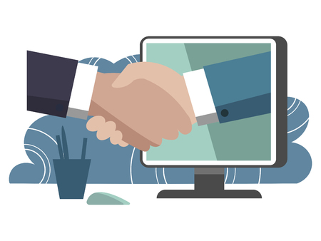 Handshake through computer monitor. Business make deal metaphor in minimalistic flat style. Cartoon vector illustration Ilustrace