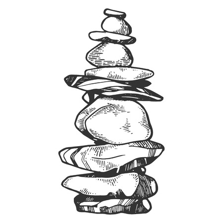Tower of balancing stones engraving vector illustration. Scratch board style imitation. Black and white hand drawn image. Ilustração