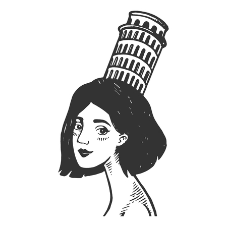 Old fashioned lady girl with Pisa tower on head vintage engraving vector illustration. Scratch board style imitation. Black and white hand drawn image. Illustration