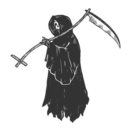 Grim Reaper Morte metafora incisione illustrazione vettoriale. Imitazione di stile scratch board. Immagine disegnata a mano in bianco e nero.