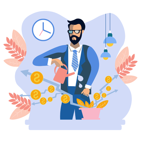 Businessman and money plant watering. Business work situation in flat style. Cartoon vector illustration