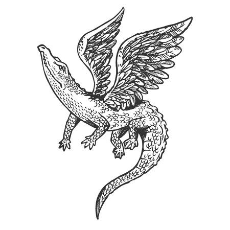 Fantastisches fabelhaftes fliegendes Krokodil mit Flügeltiergravurvektorillustration. Nachahmung im Scratchboard-Stil. Handgezeichnetes Schwarz-Weiß-Bild. Vektorgrafik