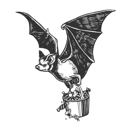 Bat flies with bucket of candy engraving vector illustration. Scratch board style imitation. Black and white hand drawn image.
