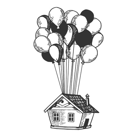 Fantastic fabulous house is flying on air balloons engraving vector illustration. Scratch board style imitation. Black and white hand drawn image.