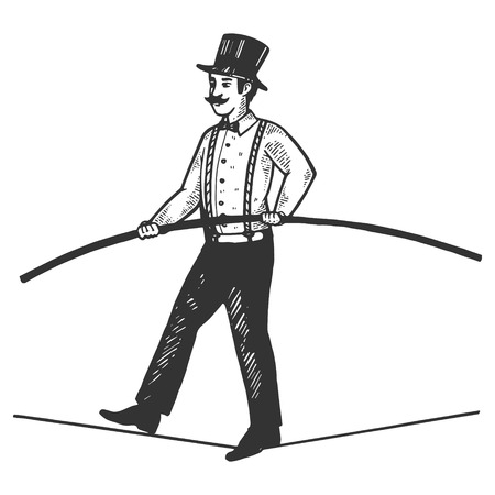 Man circus ropewalker engraving vector illustration. Scratch board style imitation. Black and white hand drawn image.