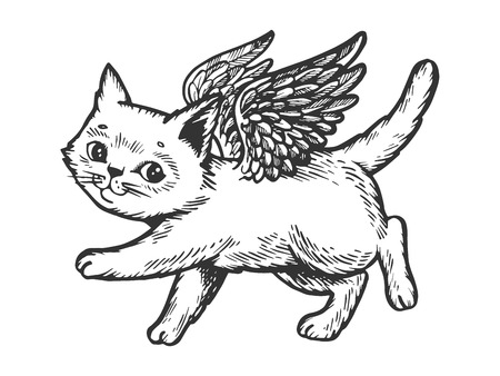 Angel flying kitten engraving vector illustration. Scratch board style imitation. Black and white hand drawn image. Illustration