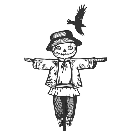 Farm rural scarecrow with flying crow bird engraving vector illustration. Scratch board style imitation. Black and white hand drawn image.