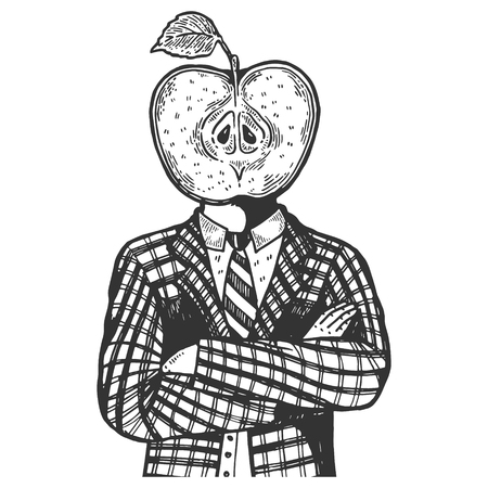 Apple head of man engraving vector illustration. Scratch board style imitation. Black and white hand drawn image.