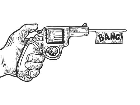 Pistola con bandera blanca imitación disparos grabado ilustración vectorial. Imitación de tablero de rascar. Imagen dibujada a mano en blanco y negro.