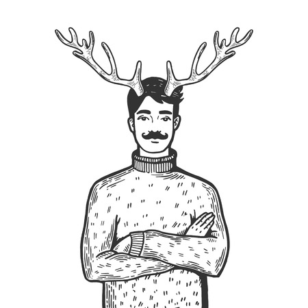 Husband with deer horns on his head engraving vector illustration.