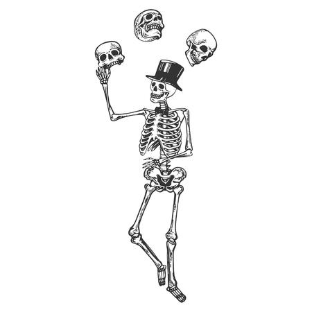 Skeleton juggles skulls Death metaphor engraving vector illustration. Scratch board style imitation. Black and white hand drawn image.