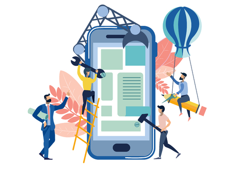 Interfaccia utente della metafora della creazione di applicazioni mobili. Situazione di lavoro aziendale in stile piatto. Fumetto illustrazione vettoriale Vettoriali