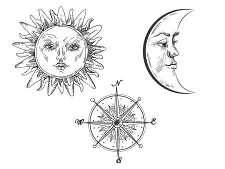 Sole e luna con illustrazione vettoriale di incisione del viso. Imitazione di stile scratch board. Immagine disegnata a mano.