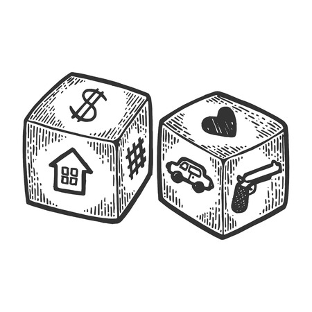 Dice with different symbols engraving vector illustration. Scratch board style imitation. Black and white hand drawn image.