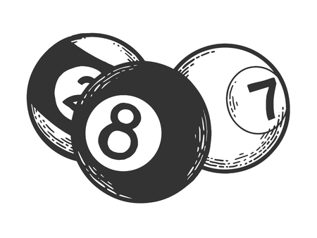 Billiard pool balls ivories engraving vector illustration. Scratch board style imitation. Black and white hand drawn image.
