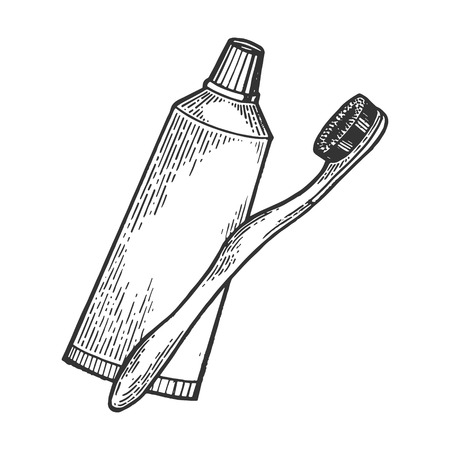 Toothbrush and toothpaste engraving vector illustration. Scratch board style imitation. Hand drawn image. Imagens