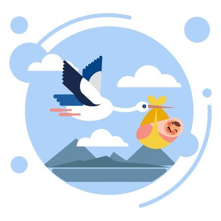 Stork bird carries baby child. Flat style. Cartoon vector illustration
