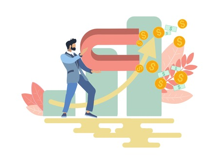 Businessman with magnet attracts money income. Business metaphor in minimalistic flat style. Cartoon vector illustration Stock Illustratie
