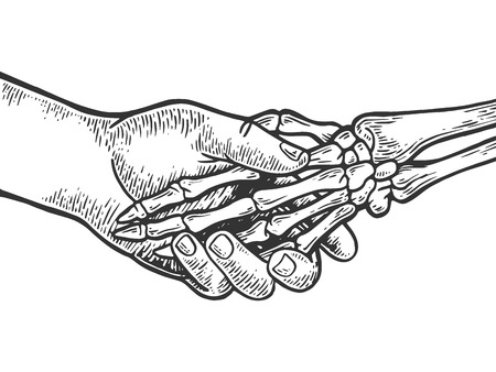 Death skeleton handshake engraving vector illustration. Scratch board style imitation. Black and white hand drawn image.