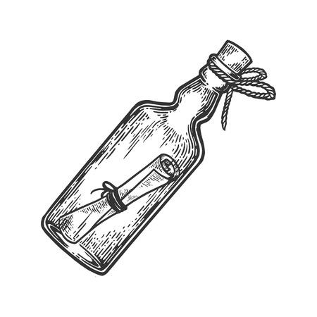 Mensaje en una ilustración de vector de grabado de botella. Imitación de tablero de rascar. Imagen dibujada a mano.