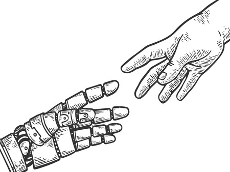 Mechanische Roboterhand und Mensch erreichen einander Gravurvektorillustration. Nachahmung im Scratchboard-Stil. Handgezeichnetes Schwarz-Weiß-Bild.