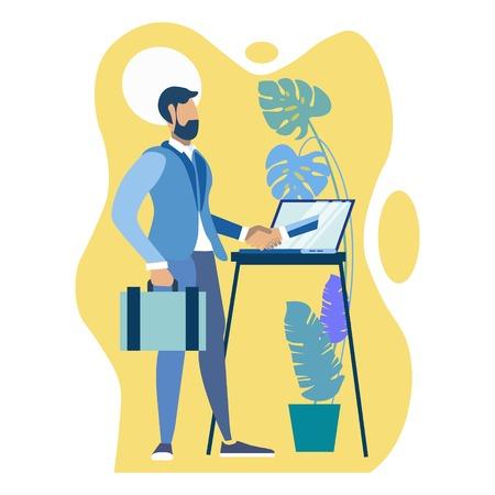 Handshake through computer monitor. Business make deal metaphor in minimalistic flat style. Cartoon vector illustration Stock Photo