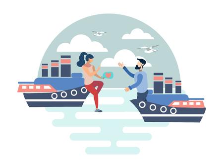 Couple in love on cruise ships. Flat style. Cartoon vector illustration