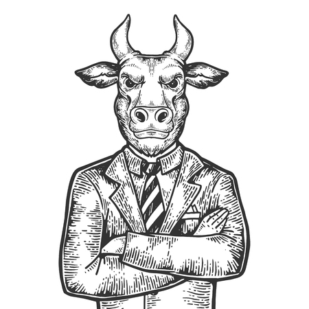 Bull head stock exchange worker businessman engraving vector illustration. Scratch board style imitation. Black and white hand drawn image.