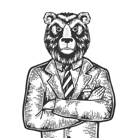 Bear head stock exchange worker businessman engraving vector illustration. Scratch board style imitation. Black and white hand drawn image.