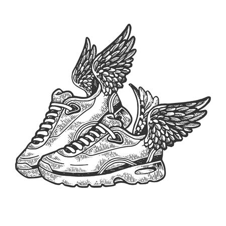 Fliegende Turnschuhe mit Flügeln, die Vektorillustration gravieren. Nachahmung im Scratchboard-Stil. Handgezeichnetes Schwarz-Weiß-Bild.