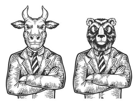 Bull and Bear head stock exchange worker businessmean engraving vector illustration. Scratch board style imitation. Black and white hand drawn image. Çizim