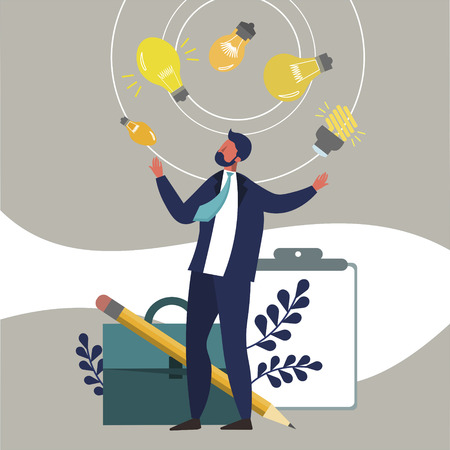 Businessman juggles with ideas. Flat style. Cartoon vector illustration