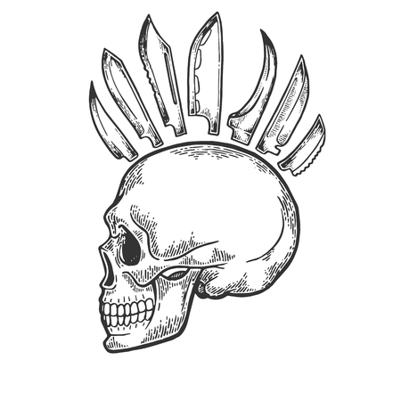 Skull with knife mohawk hairstyle engraving vector illustration. Scratch board style imitation. Black and white hand drawn image.