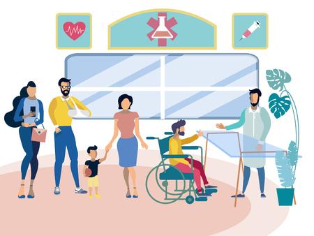 People in hospital reception. Business metaphor in minimalistic flat style. Cartoon vector illustration
