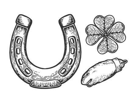 Luck talisman objects horseshoe clover rabbit paw engraving vector illustration. Scratch board style imitation. Black and white hand drawn image. Stock Photo