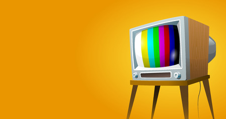 Television set vector illustration. Cartoon colorful image on yellow background