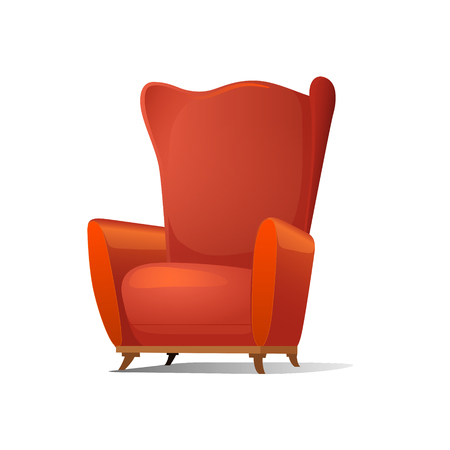 Red comfortable cartoon armchair vector illustration. Isolated image on white background Banco de Imagens