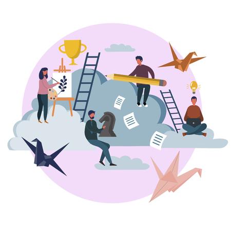 Artistic creative freelancer people at work process. Flat style. Cartoon vector illustration Stock Photo