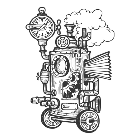 Fantastic steam punk machine engraving vector illustration. Scratch board style imitation. Black and white hand drawn image. Ilustração
