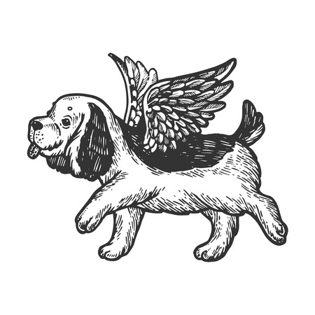 Angel flying dog puppy engraving vector illustration. Scratch board style imitation. Black and white hand drawn image. Standard-Bild - 112835097