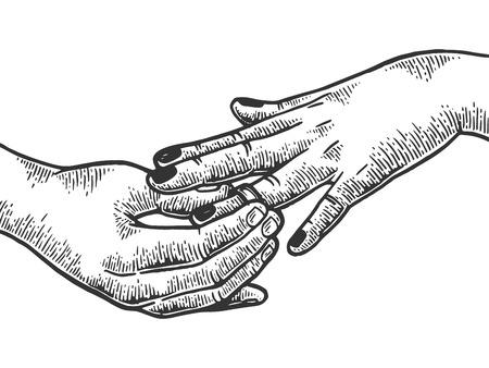Homme mis sur femme bague en diamant précieux proposition de mariage gravure illustration vectorielle. Imitation de style planche à gratter. Image dessinée à la main.