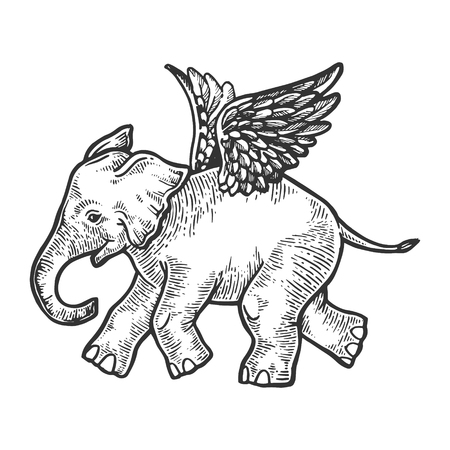 Angel flying baby elephant engraving vector illustration. Scratch board style imitation. Black and white hand drawn image. Фото со стока - 112903128
