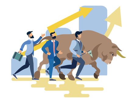 Stock exchange worker businessmen run with bull animal. Business metaphor in minimalistic flat style. Cartoon vector illustration
