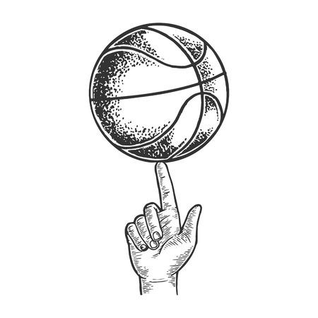 Basket-ball tournant sur illustration vectorielle de gravure de doigt. Imitation de style planche à gratter. Image dessinée à la main en noir et blanc. Vecteurs