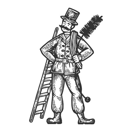 Chimney sweep man engraving vector illustration. Scratch board style imitation. Black and white hand drawn image.