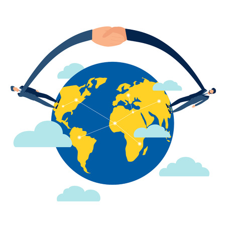 Handshake from different countries and continents of earth globe. Business make deal metaphor in minimalistic flat style. Cartoon vector illustration Reklamní fotografie