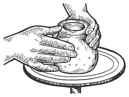 Potter macht Tontopf auf der Töpferscheibe Gravur Vector Illustration. Nachahmung im Scratchboard-Stil. Handgezeichnetes Schwarz-Weiß-Bild.