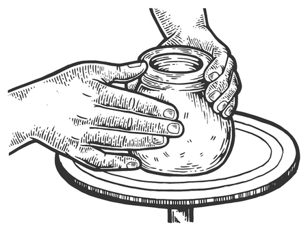 Potter makes pot of clay on potters wheel engraving vector illustration. Scratch board style imitation. Black and white hand drawn image.